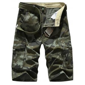 Zipper Fly Chino Cargo Shorts - Army Green Camouflage - 32