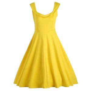 Vintage Fit and Flare Work A Line Dress - Yellow - M