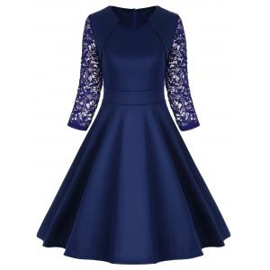 A Line Work Lace Trim Vintage Dress - Blue - S