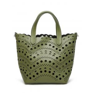 Hollow Out Handbag and Interior Bag - Green