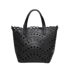Hollow Out Handbag and Interior Bag - BLACK