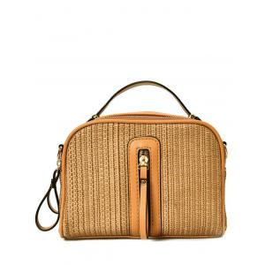 Zippers Top Handle Straw Handbag
