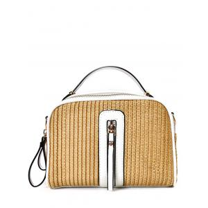 Zippers Top Handle Straw Handbag - White