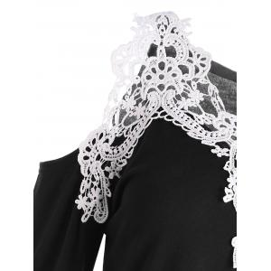 Cold Shoulder Lace Panel Color Block T-Shirt with Long Sleeve - BLACK S