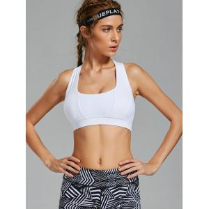 Padde Back Criss Cross Yoga Bra with Mesh Panel -