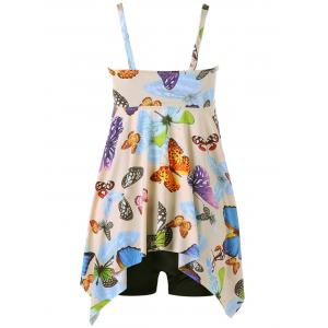 Butterfly Print Plus Size Handkerchief Tankini Set -