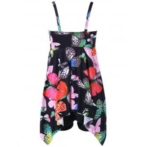 Butterfly Print Plus Size Handkerchief Tankini Set - BLACK 2XL