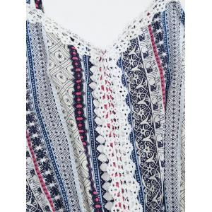 Laced Printed Slip Romper - BLUE ONE SIZE