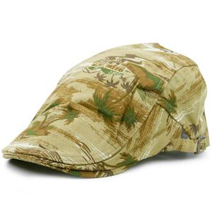 Coconut Tree Beach Pattern Newsboy Hat - Yellow - One Size