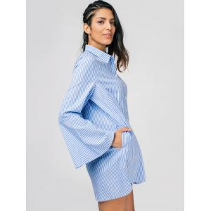 Robe chemisier tunique rayée manches longues -
