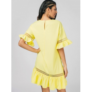 Sheer Ruffles East Casual Dress -