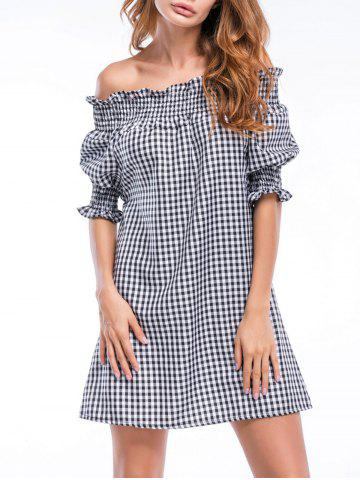 Off The Shoulder Ruffles Checked Straight Dress - Checked - M