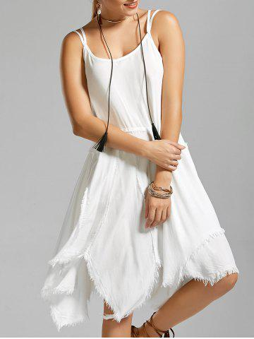Trendy Fringe Short Asymmetric Long Slip Dress WHITE L
