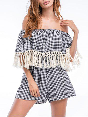 Tassels Off The Shoulder Checked Flounce Romper - Checked - Xl