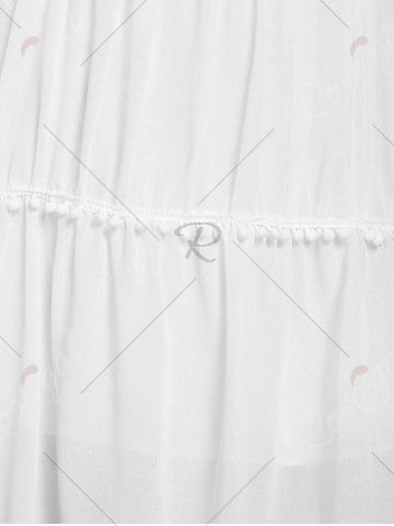 Trendy Stylish White Off The Shoulder Spaghetti Strap With Lace Women's Dress - M WHITE Mobile
