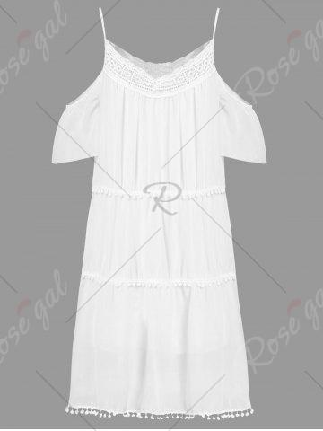 Sale Stylish White Off The Shoulder Spaghetti Strap With Lace Women's Dress - M WHITE Mobile