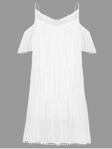 Sale Stylish White Off The Shoulder Spaghetti Strap With Lace Women's Dress