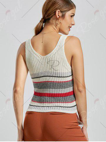 Best V Neck Striped Knit Sweater Vest - ONE SIZE WHITE Mobile