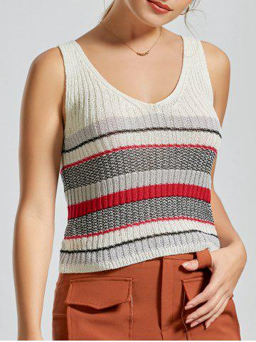 Latest V Neck Striped Knit Sweater Vest - ONE SIZE WHITE Mobile