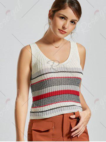 Shop V Neck Striped Knit Sweater Vest - ONE SIZE WHITE Mobile
