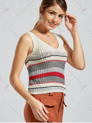 Hot V Neck Striped Knit Sweater Vest - ONE SIZE WHITE Mobile