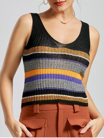 V Neck Striped Knit Sweater Vest - Black - One Size