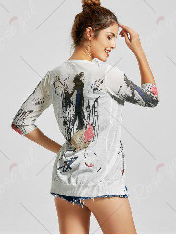 Outfit V Neck Button Up Graphic Cardigan - S WHITE Mobile