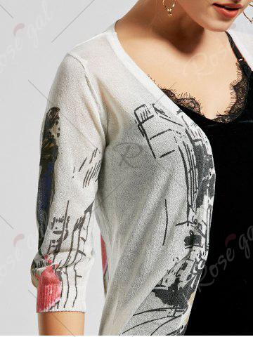 New V Neck Button Up Graphic Cardigan - S WHITE Mobile