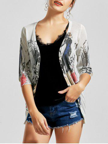 New V Neck Button Up Graphic Cardigan - L WHITE Mobile