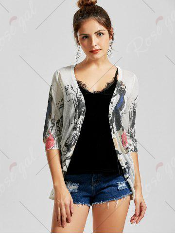Store V Neck Button Up Graphic Cardigan - L WHITE Mobile