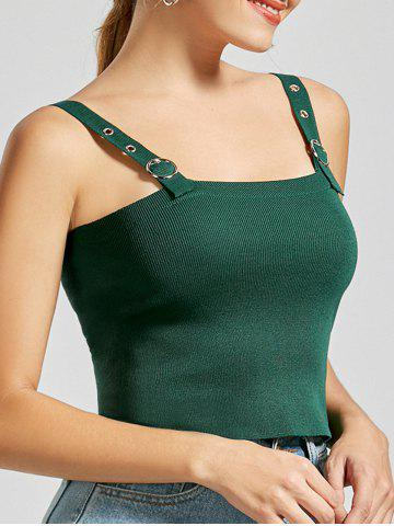 Slim Fit Square Collar Crop Tank Top Vert Armée TAILLE MOYENNE