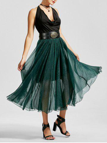 A Line See Through Chiffon Long Skirt - Blackish Green - S