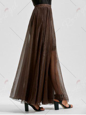 New A Line See Through Chiffon Long Skirt - 2XL COFFEE Mobile