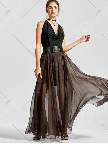 Buy A Line See Through Chiffon Long Skirt - 2XL COFFEE Mobile