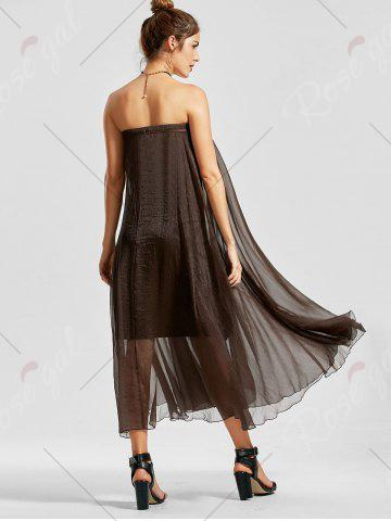 Affordable A Line See Through Chiffon Long Skirt - 2XL COFFEE Mobile