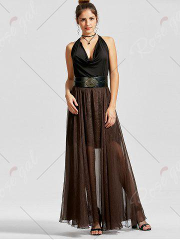 Hot A Line See Through Chiffon Long Skirt - 2XL COFFEE Mobile