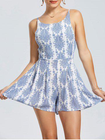 Discount Cut Out Back Sleeveless Print Romper - S BLUE Mobile