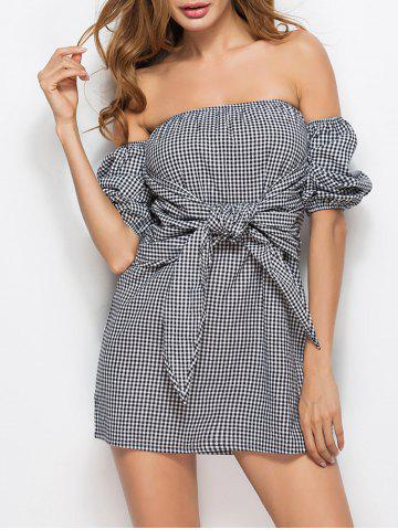 Off Shoulder Tie Waist Checked Mini Dress - Checked - Xl