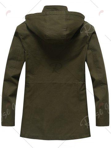 New Snap Button Pocket Design Hooded Coat - M ARMY GREEN Mobile