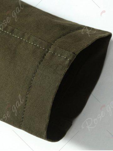 Hot Snap Button Pocket Design Hooded Coat - M ARMY GREEN Mobile