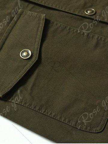 Shop Snap Button Pocket Design Hooded Coat - M ARMY GREEN Mobile