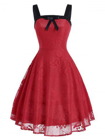 Chic Butterfly Floral Vintage Fit and Flare Dress RED 2XL