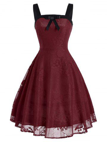 Butterfly Floral Vintage Fit and Flare Dress - Wine Red - Xl