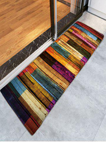 Affordable Colorful Stripes Wood Grain Flannel Rug - W16 INCH * L47 INCH COLORFUL Mobile
