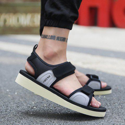 Letter Pattern Stretch Fabric Sandals - Black And Grey - 42