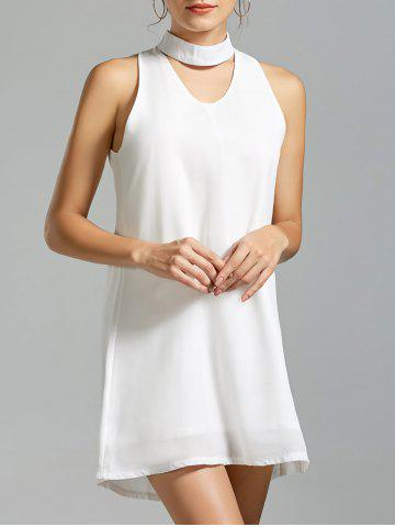 Cheap Sleeveless Short Choker Dress - S WHITE Mobile