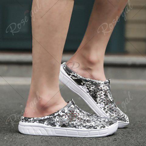Fancy Printed Hollow Out Slippers - 40 BLACK Mobile