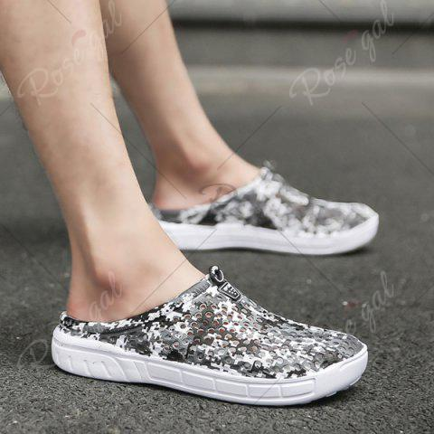 Buy Printed Hollow Out Slippers - 41 BLACK Mobile