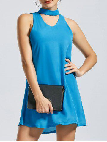 Unique Sleeveless Short Choker Dress - XL BLUE Mobile