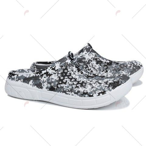 Sale Printed Hollow Out Slippers - 44 BLACK Mobile